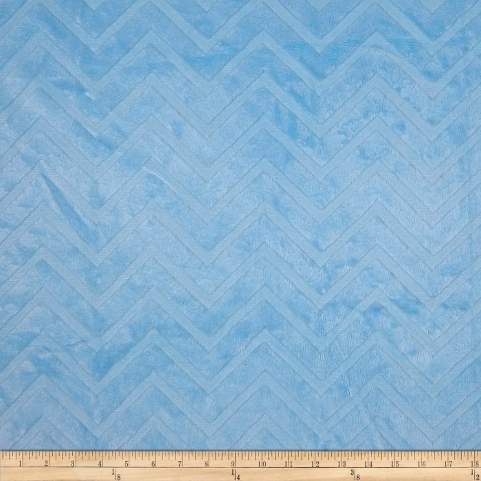Shannon Minky Cuddle Embossed Chevron Baby Blue