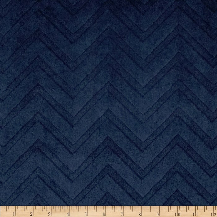 Shannon Minky Embossed Chevron Cuddle Navy