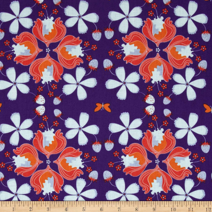 Hot House Flowers Floral Allover Purple