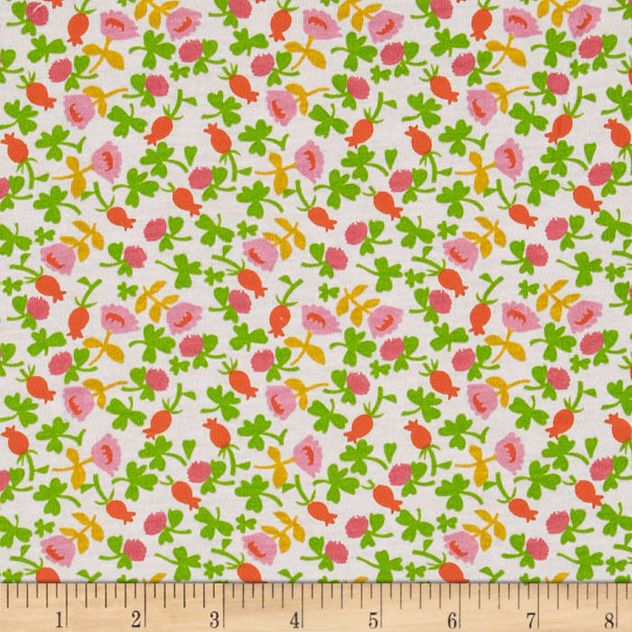 Heather Ross Briar Rose Cotton Jersey Knit Calico Pink