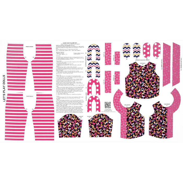 Let's Play Dolls Doll PJ's Panel Hot Pink