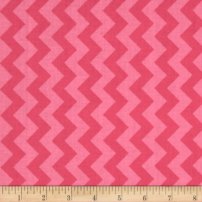 Riley Blake Cotton Jersey Knit Small Chevron Tone on Tone Hot Pink