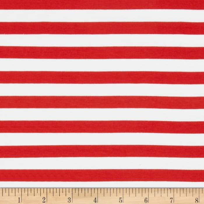 "Riley Blake Cotton Jersey Knit 1/2"" Stripes Red"