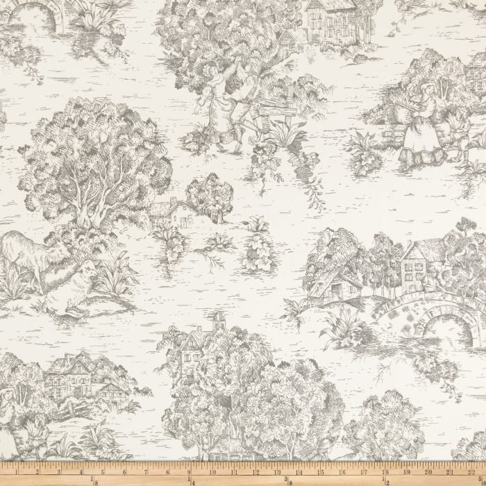 Pastoral Toile Ivory/Cerulean Charcoal