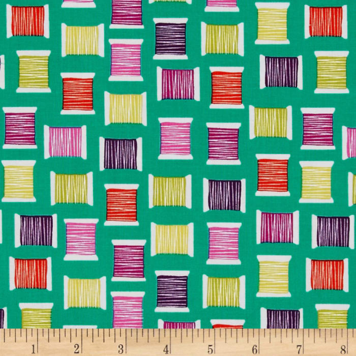 Michael Miller Love to Sew Cool Spools Teal