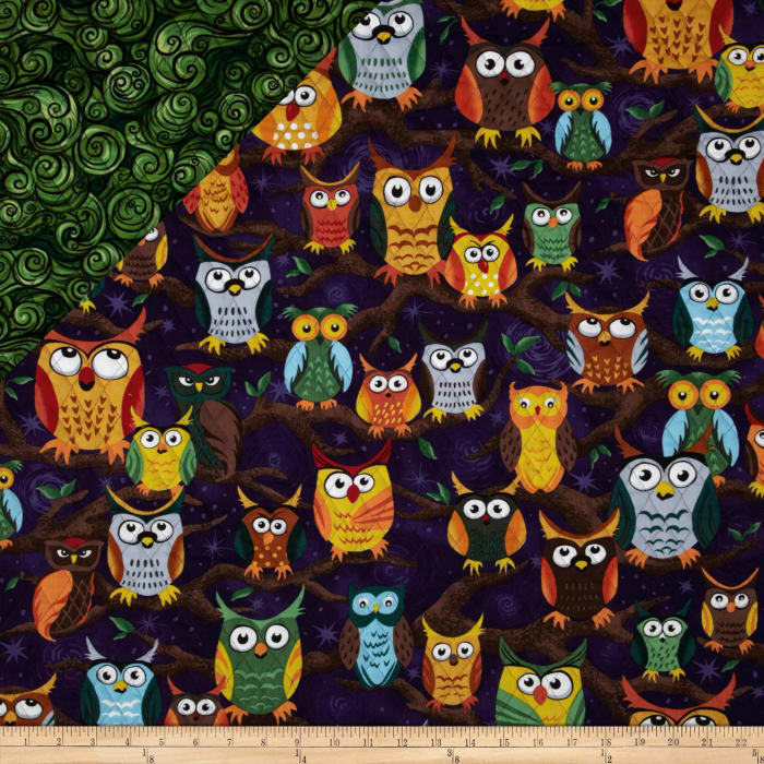 Nite Owls Double Sided Quilted Large Owls Purple