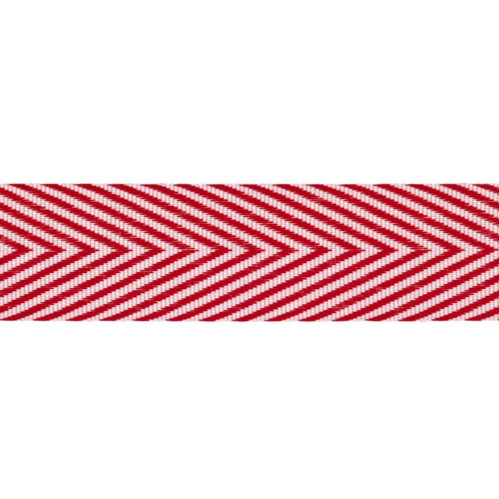 "3/4"" Twill Tape Chevron Stripes Red"