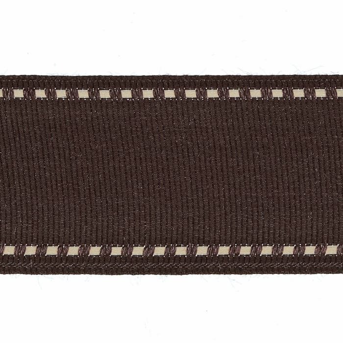"""1 1/2"""" Grosgrain Stitched Edge Ribbon Brown/Ivory"""