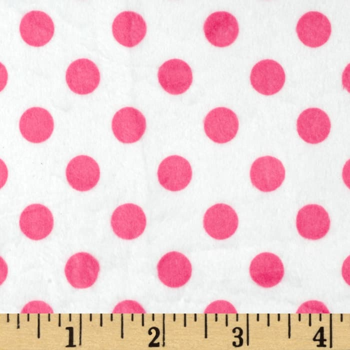Minky Minnie Dots White/Hot Pink