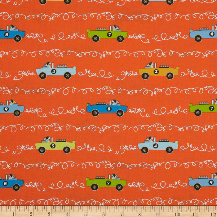 Michael Miller Soft Top Scribble Cars Clementine