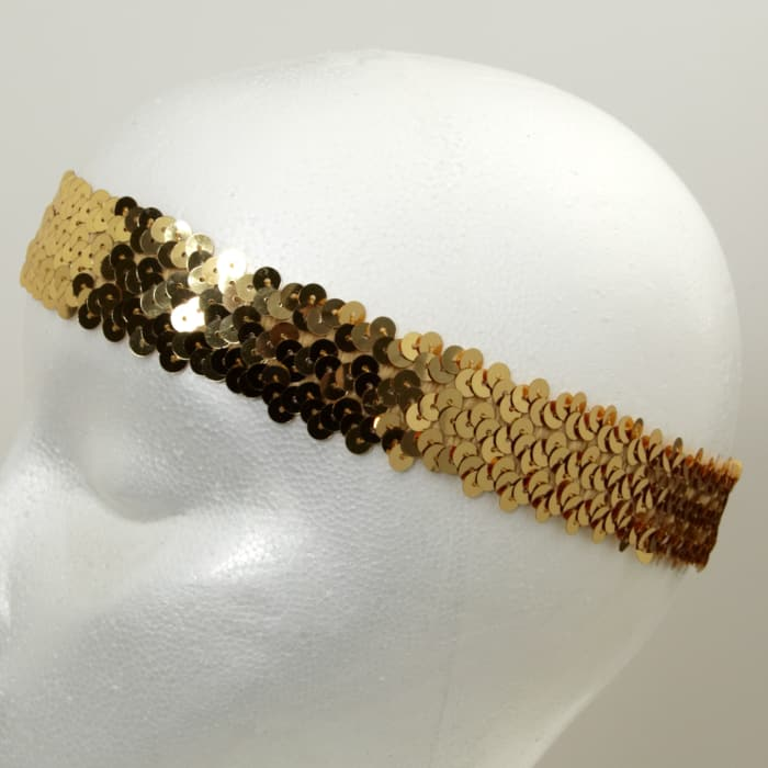 "1 1/4"" Hologram Stretch Sequin Headband  Gold"