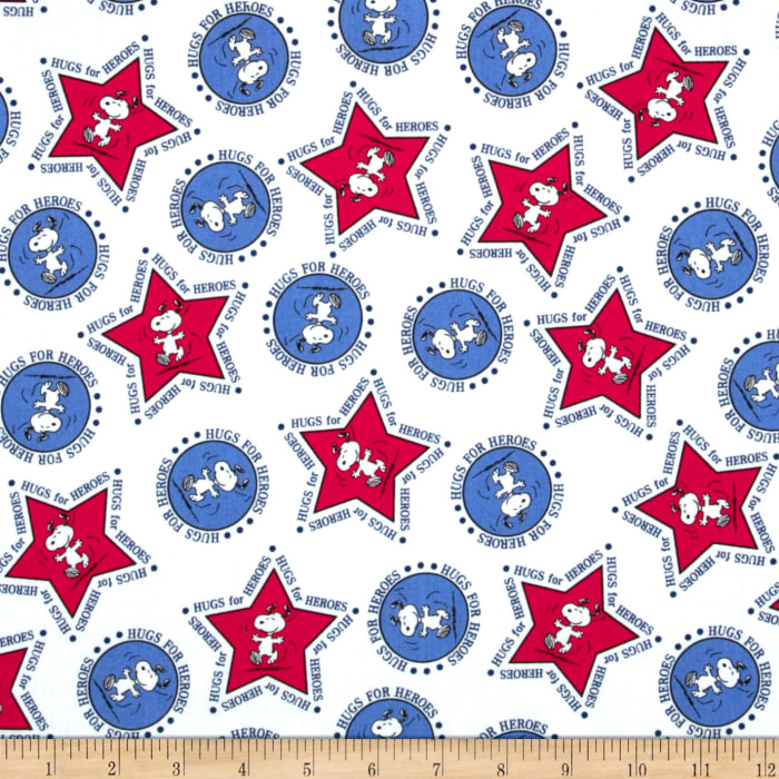 Peanuts Hugs for Heroes Snoopy Stars/Circles White