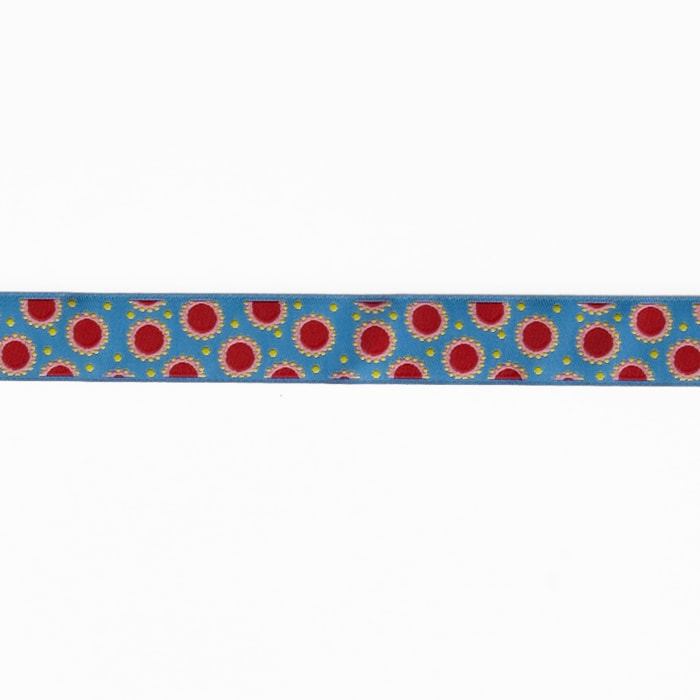 "7/8"" Jane Sassaman Blue & Red Dotty Dots Ribbon"