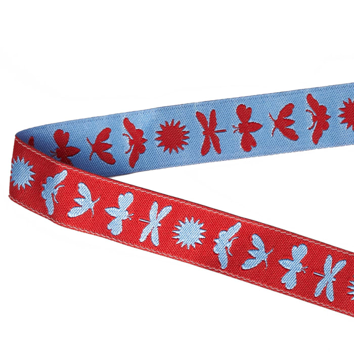 "5/8"" Jane Sassaman Blue & Red Night Life Ribbon"