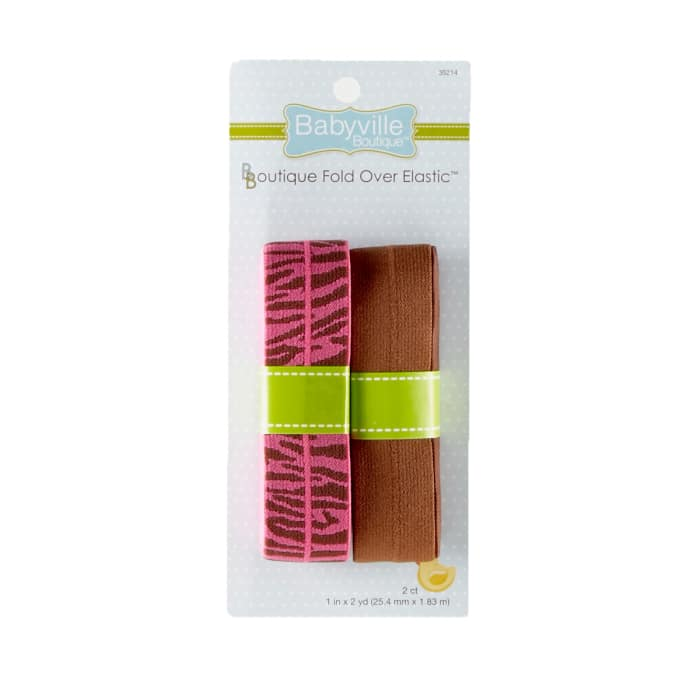 Babyville Boutique 1'' x 2 yards Fold-Over Elastic Pink and Brown Zebra & Brown (2 Pack)