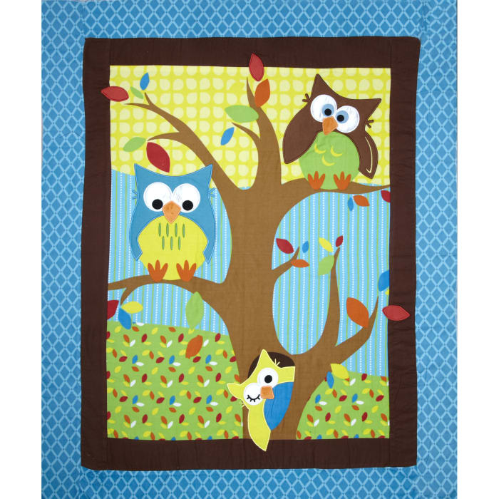 """Bright Owl Flannel Quilt Top Turquoise 38"""" Panel"""