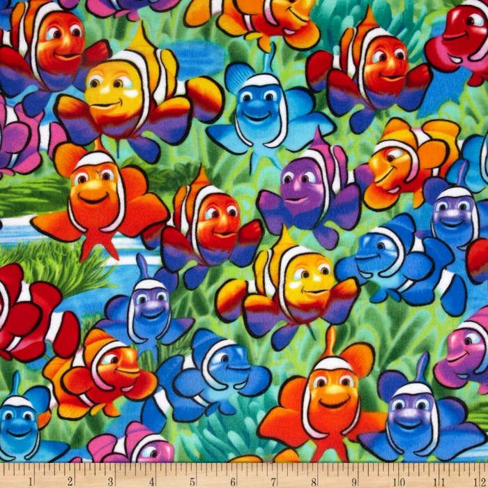 Timeless Treasures Flannel Clown Fish Multi