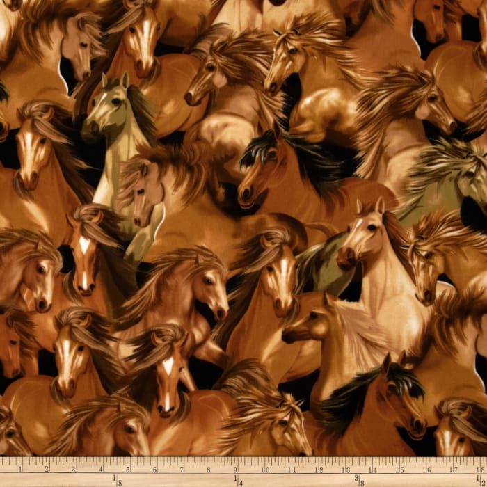 Timeless Treasures Flannel Horses Brown