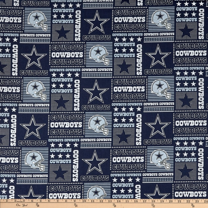 home decor fabric dallas nfl cotton broadcloth dallas cowboys patchwork blue white 10979