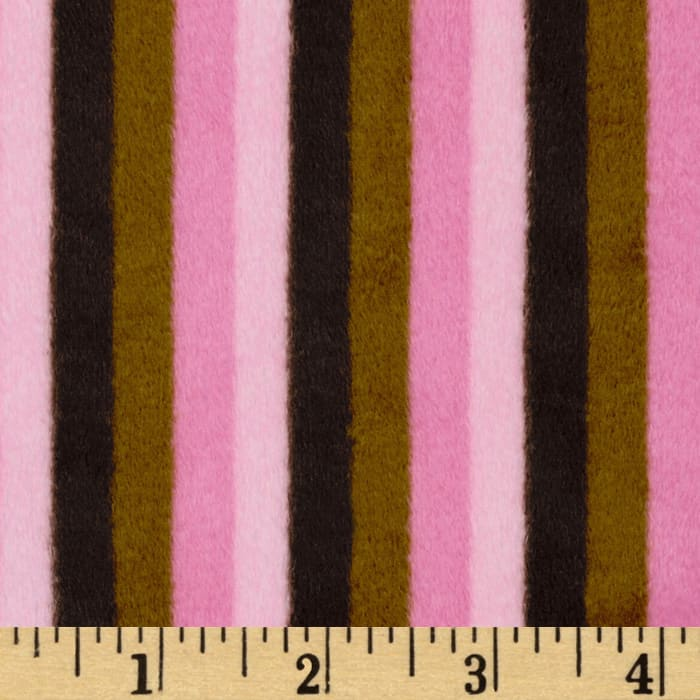 Shannon Minky Striped Cuddle Mocha/Pink