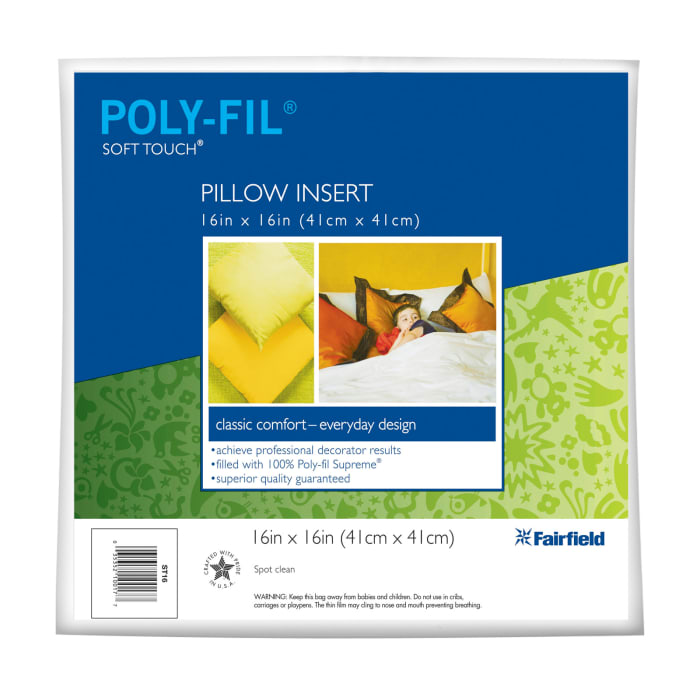 """Fairfield Soft Touch Supreme Poly-Fil Pillow 16"""" Square"""