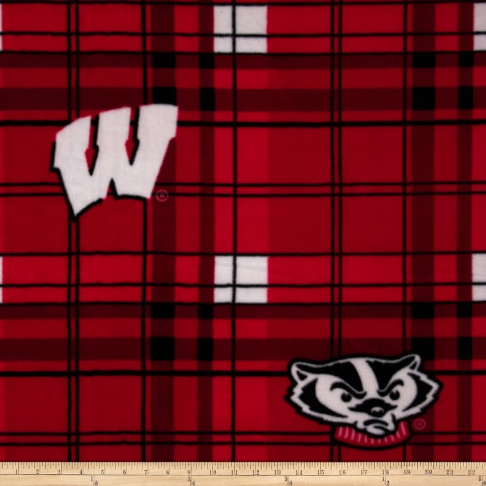 University of Wisconsin Fleece Plaid Red