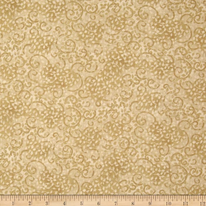 "Leafy Scroll 108"" Wide Back Beige"