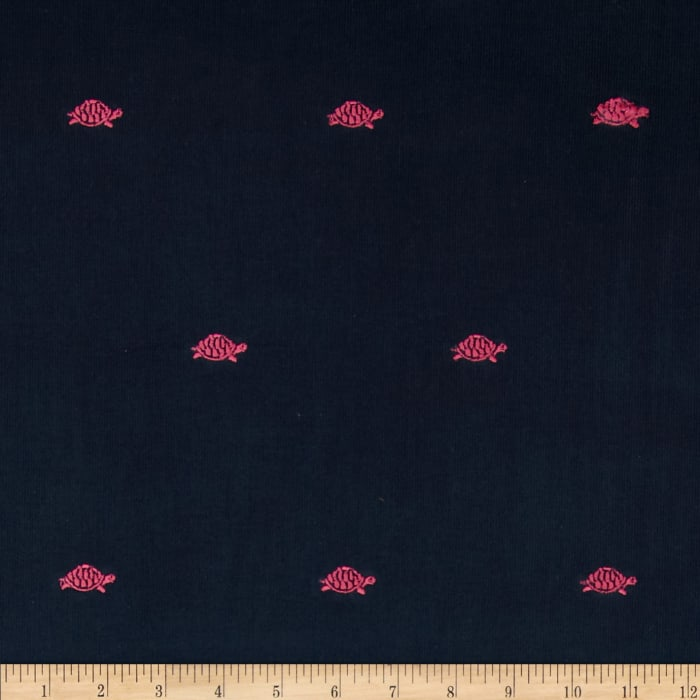 Embroidered 21 Wale Corduroy Turtle Navy/Pink