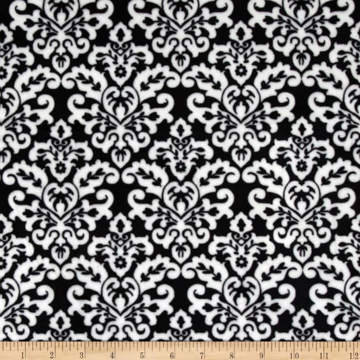 Shannon Minky Cuddle Classic Damask Black/Snow