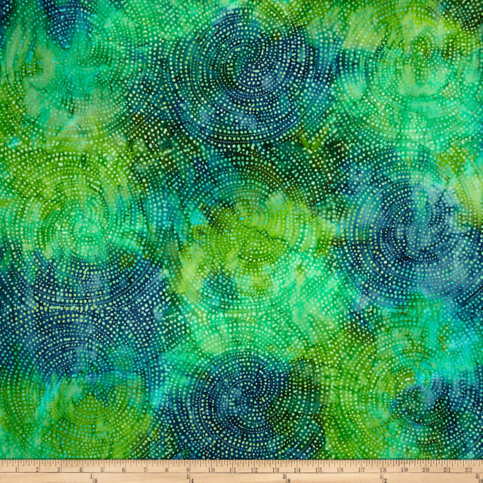 "Timeless Treasures Tonga Batiks 106"" Wide Dotty Spiral Lagoon"