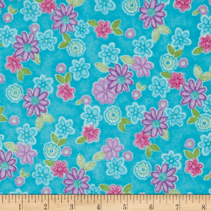 Cotton Candy Flannel Tossed Flowers Aqua