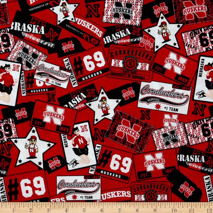 Collegiate Cotton Broadcloth University of Nebraska Scarlet