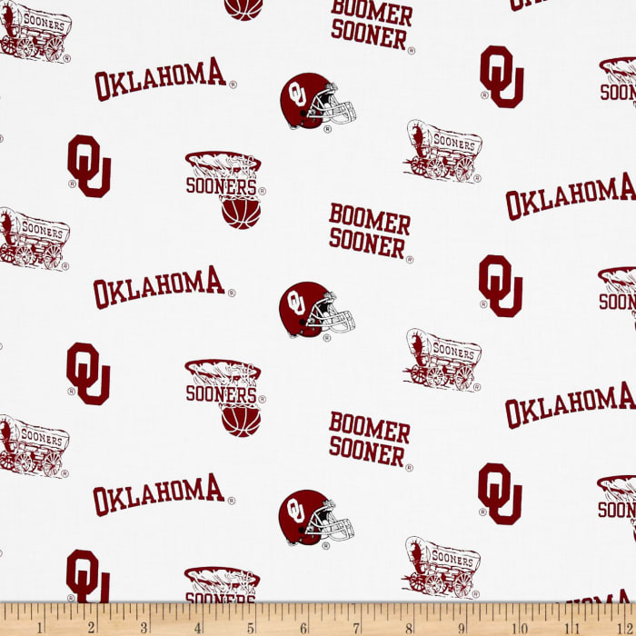 Collegiate Cotton Broadcloth University of Oklahoma White