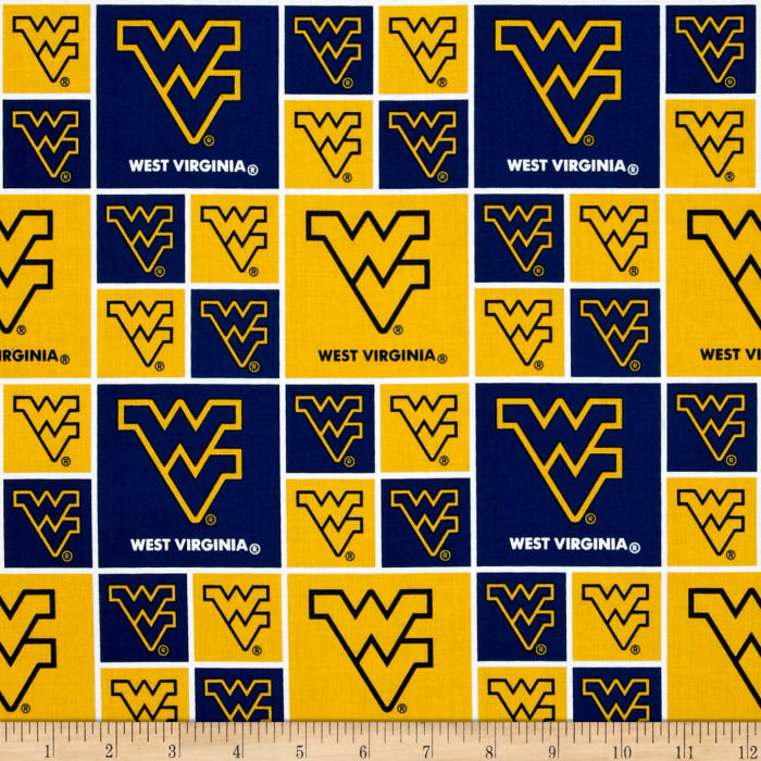 Collegiate Cotton Broadcloth West Virginia University Yellow