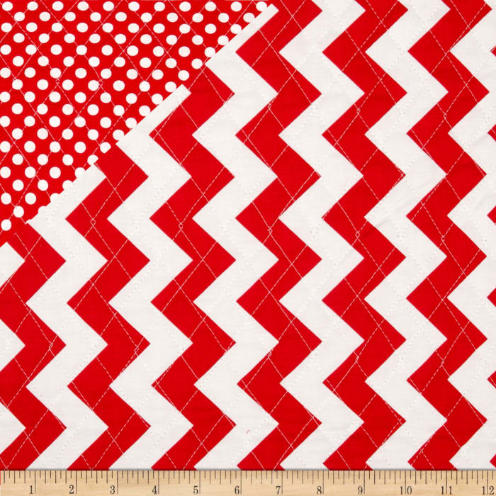Riley Blake Double Sided Quilted Medium Chevron Red