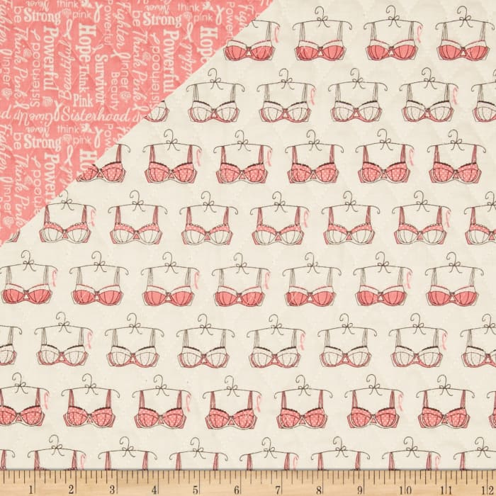 Riley Blake Double Sided Quilted Think Pink Cream