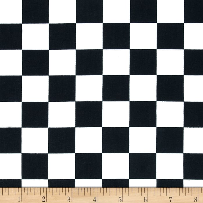 Cotton Twill Large Checker Black/White