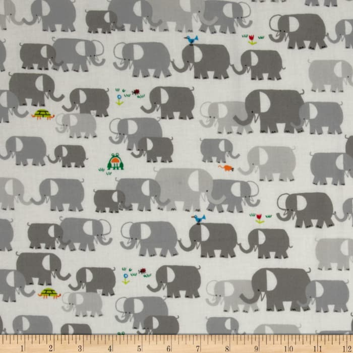 Cloud 9 Happy Drawing Organic Elephants Grey