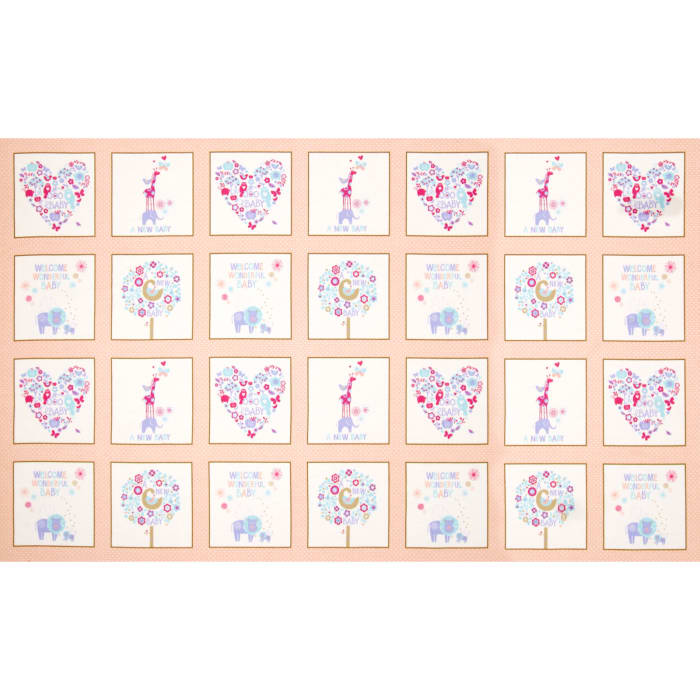 OOO Baby Flannel Patchwork Panel Peach