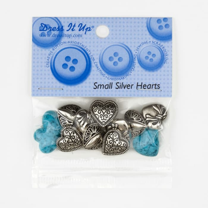 Dress It Up Embellishment Buttons  Small Hearts Silver