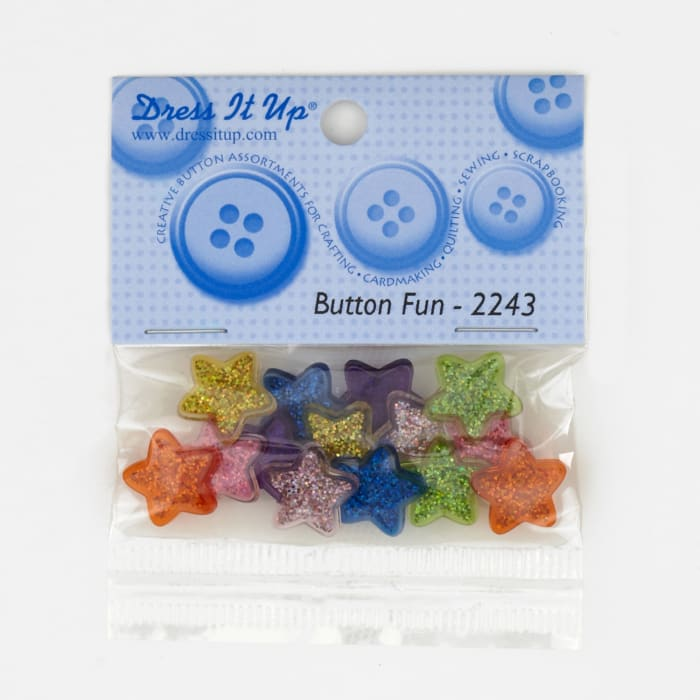 Dress It Up Embellishment Buttons  Glitter Stars