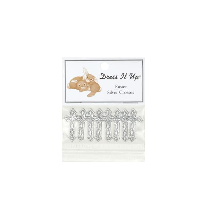 Dress It Up Embellishment Buttons  Silver Crosses