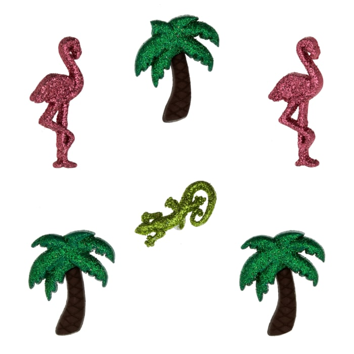 Dress It Up Embellishment Buttons  Glitter Palm Trees