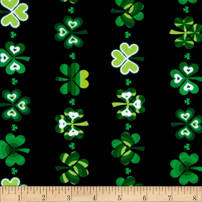 Kanvas Lucky Clovers Shamrock Stripe Black