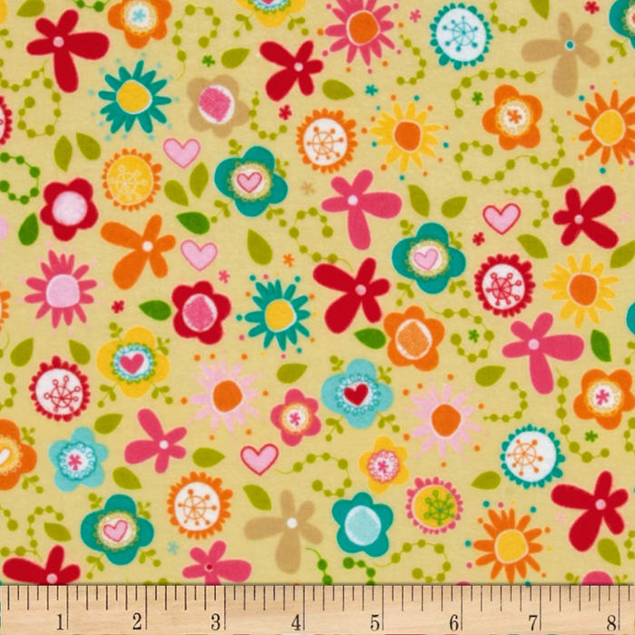 Riley Blake Summer Breeze Flannel Tossed Floral Yellow