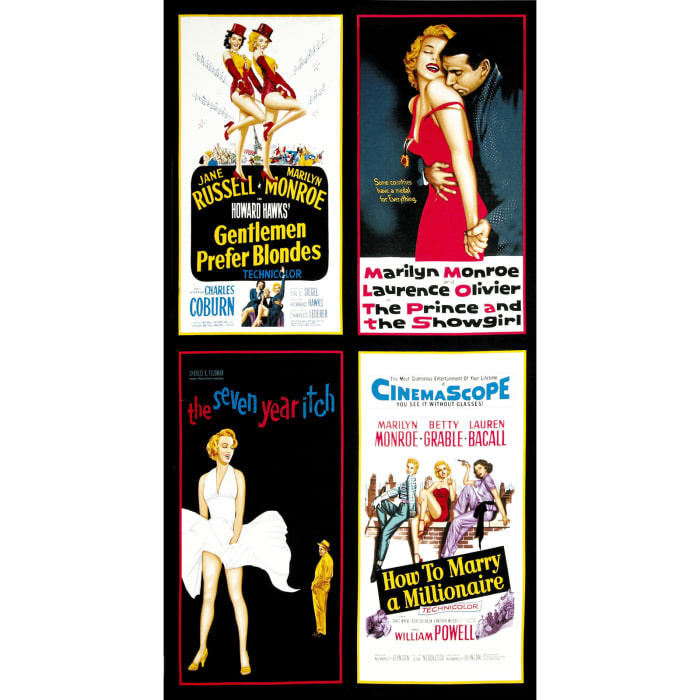 """Hollywood Icons 24"""" Panel Marilyn Monroe Movie Poster Multi"""