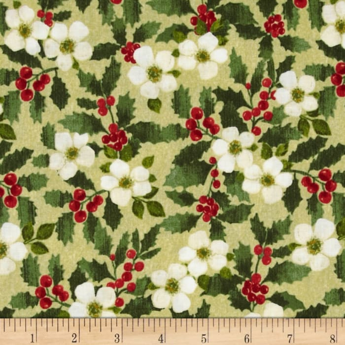Holiday Elegance Berry Floral Tan