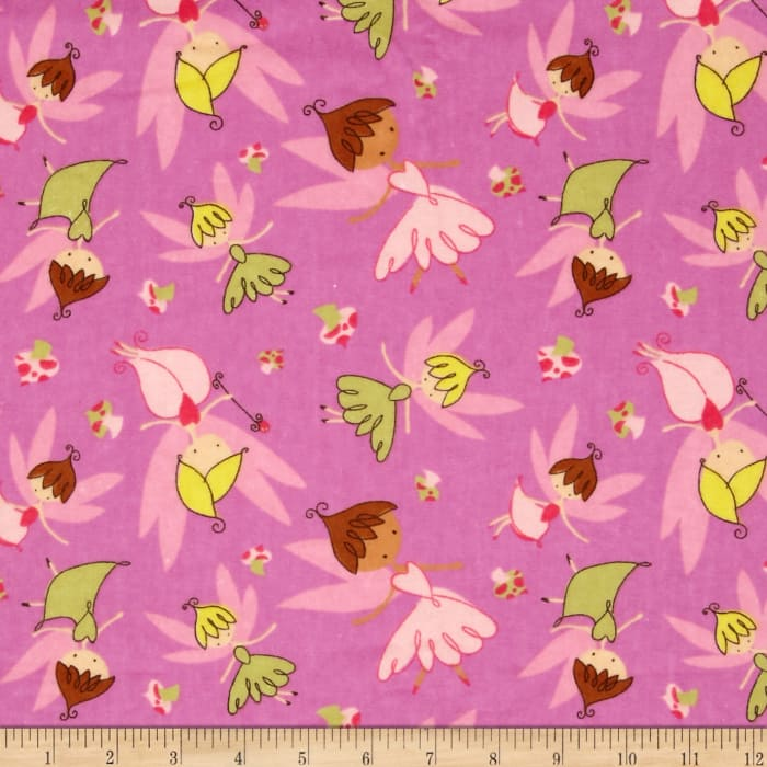 Flannel Tossed Fairies Pink