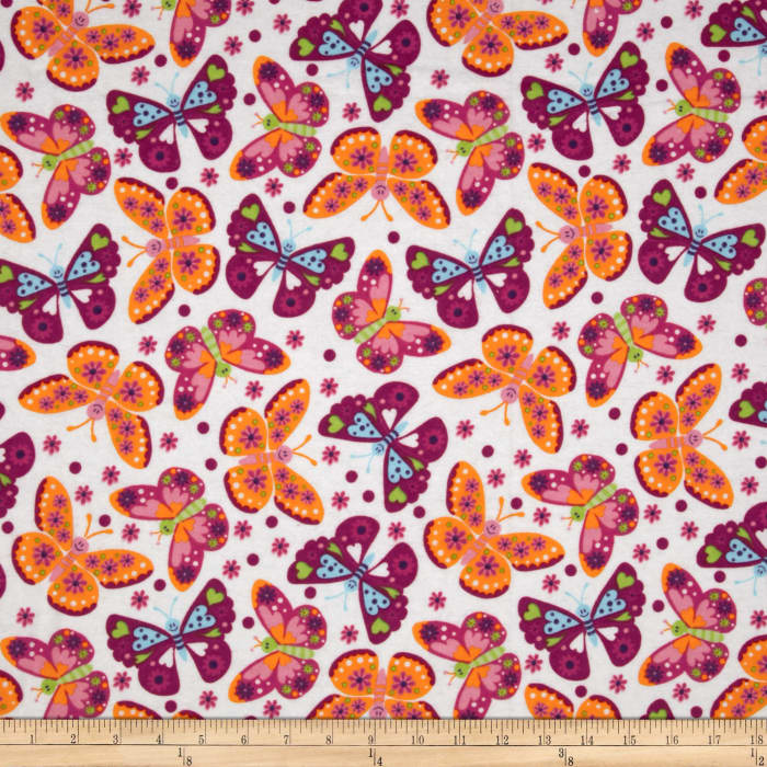 Flannel Tossed Butterflies White