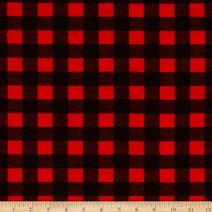 Flannel Buffalo Plaid Red Black Discount Designer Fabric